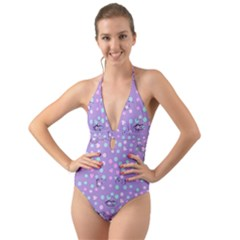 Little Face Halter Cut Out One Piece Swimsuit