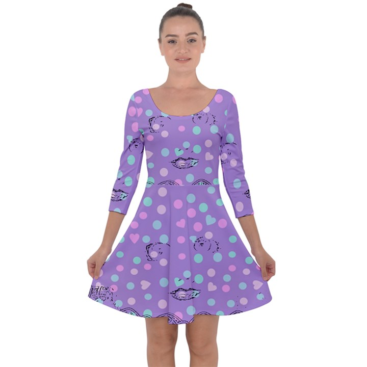 Little Face Quarter Sleeve Skater Dress