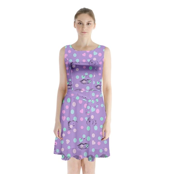 Little Face Sleeveless Waist Tie Chiffon Dress