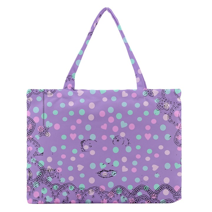 Little Face Zipper Medium Tote Bag
