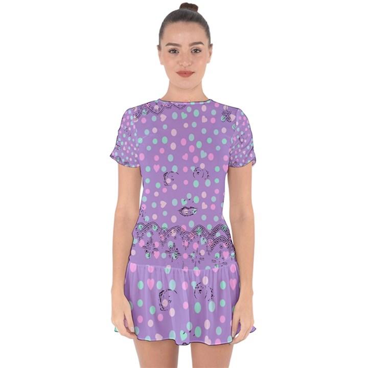 Little Face Drop Hem Mini Chiffon Dress