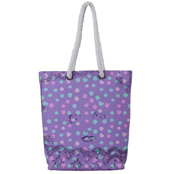 Little Face Full Print Rope Handle Tote (Small)