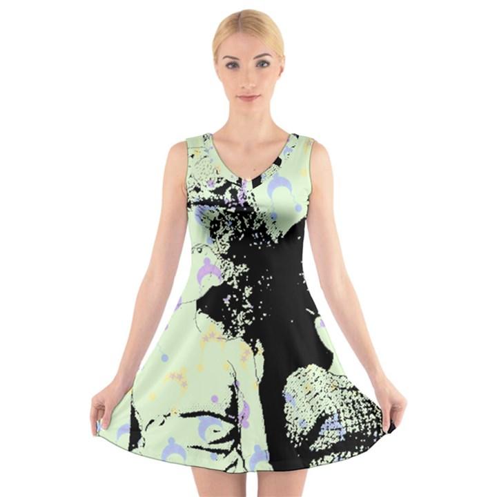 Mint Wall V-Neck Sleeveless Skater Dress