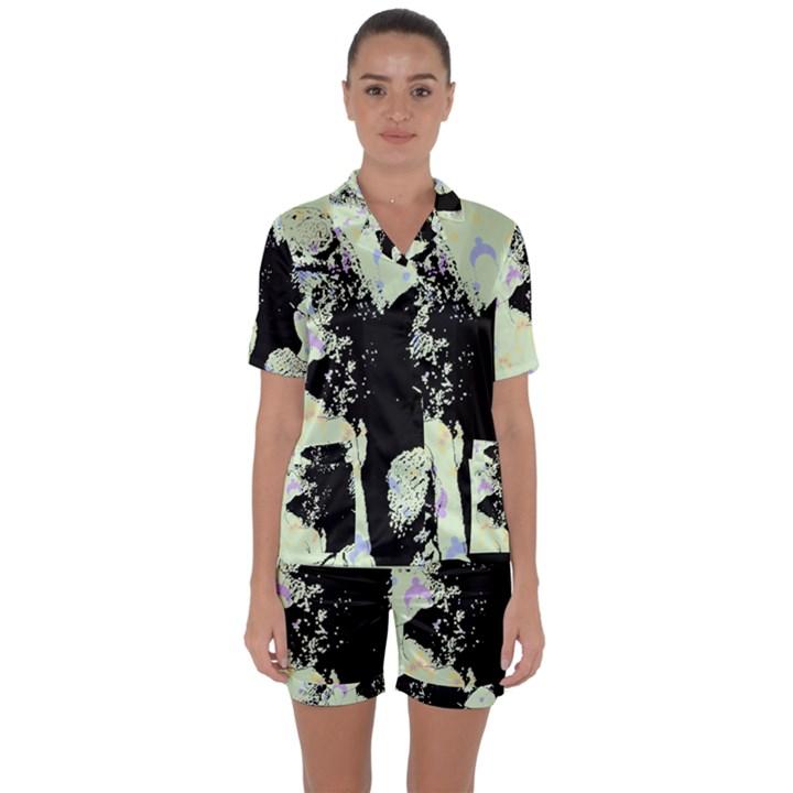 Mint Wall Satin Short Sleeve Pyjamas Set