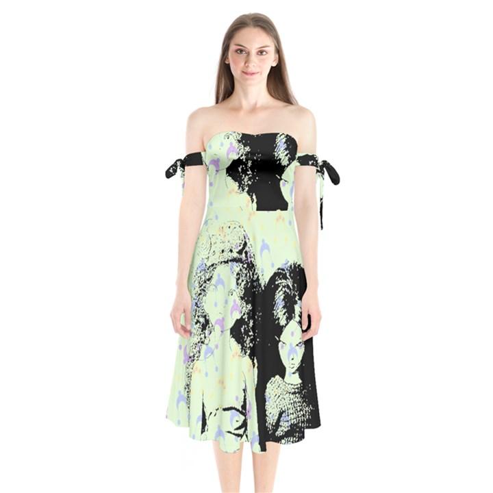 Mint Wall Shoulder Tie Bardot Midi Dress