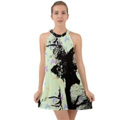 Mint Wall Halter Tie Back Chiffon Dress