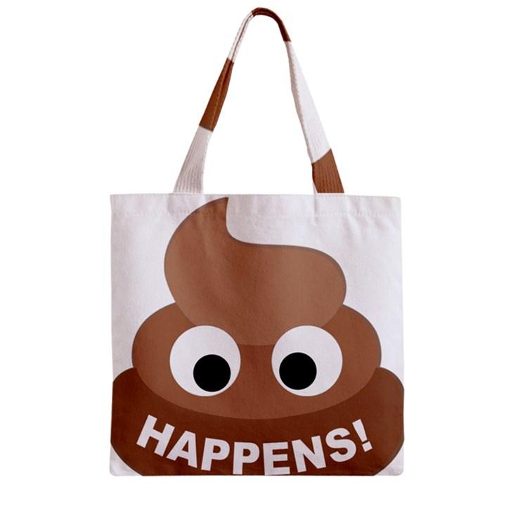 Poo Happens Zipper Grocery Tote Bag