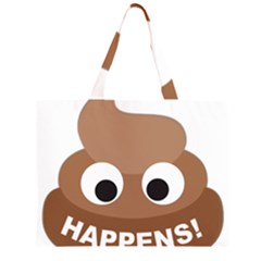 Poo Happens Zipper Large Tote Bag