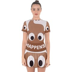 Poo Happens Drop Hem Mini Chiffon Dress