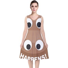 Poo Happens V Neck Midi Sleeveless Dress