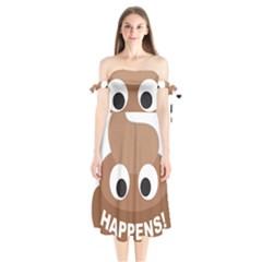 Poo Happens Shoulder Tie Bardot Midi Dress
