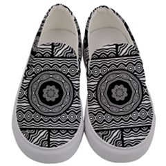 Wavy Panels Men s Canvas Slip Ons