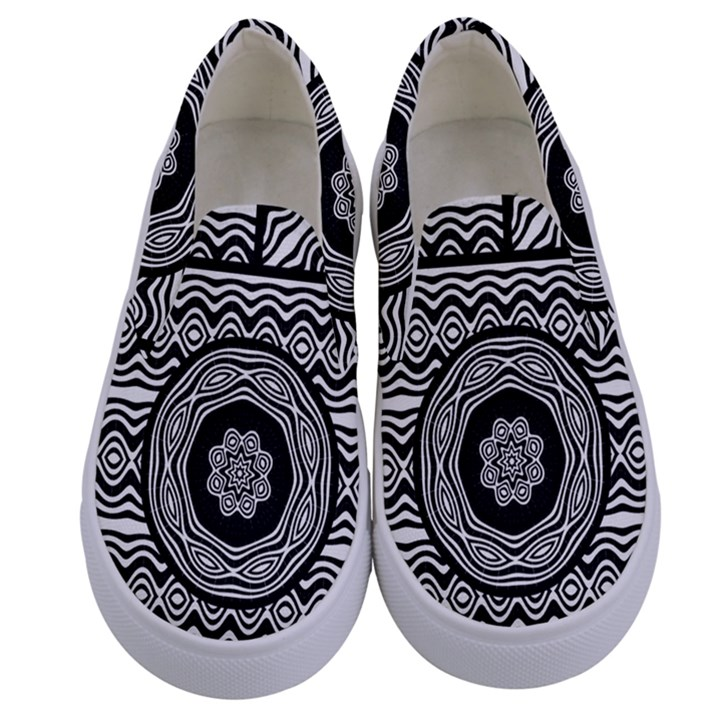Wavy Panels Kids  Canvas Slip Ons