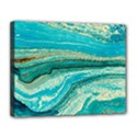 Mint,gold,marble,nature,stone,pattern,modern,chic,elegant,beautiful,trendy Canvas 14  x 11  View1