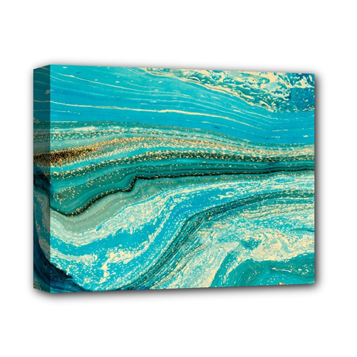 Mint,gold,marble,nature,stone,pattern,modern,chic,elegant,beautiful,trendy Deluxe Canvas 14  x 11