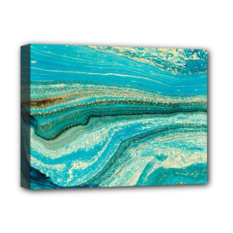 Mint,gold,marble,nature,stone,pattern,modern,chic,elegant,beautiful,trendy Deluxe Canvas 16  X 12
