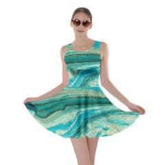 Mint,gold,marble,nature,stone,pattern,modern,chic,elegant,beautiful,trendy Skater Dress