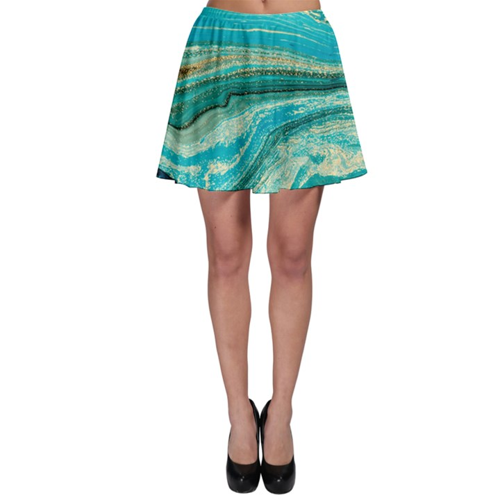 Mint,gold,marble,nature,stone,pattern,modern,chic,elegant,beautiful,trendy Skater Skirt
