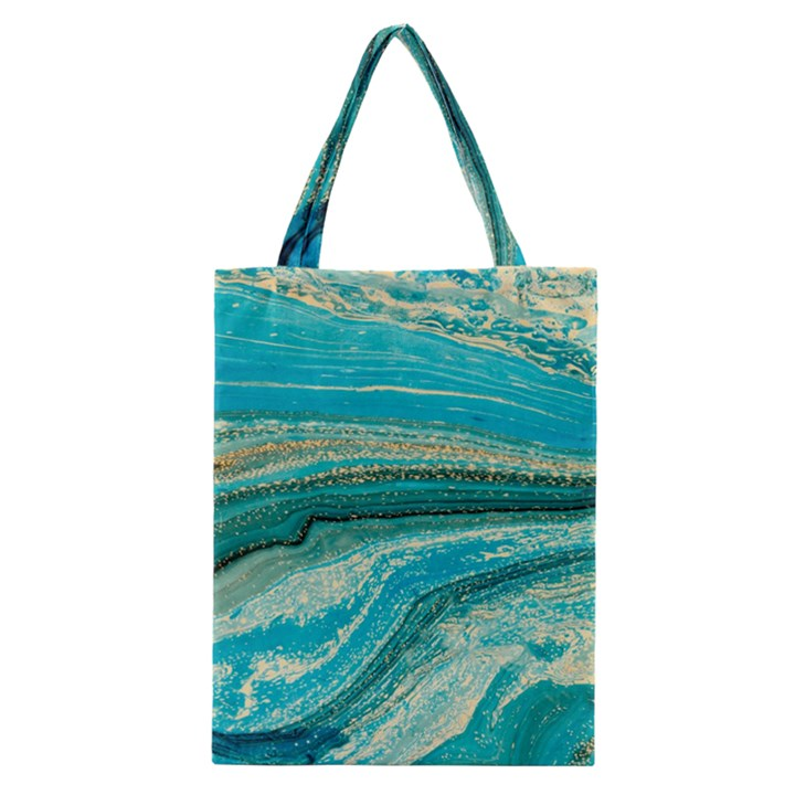 Mint,gold,marble,nature,stone,pattern,modern,chic,elegant,beautiful,trendy Classic Tote Bag