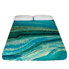 Mint,gold,marble,nature,stone,pattern,modern,chic,elegant,beautiful,trendy Fitted Sheet (california King Size)