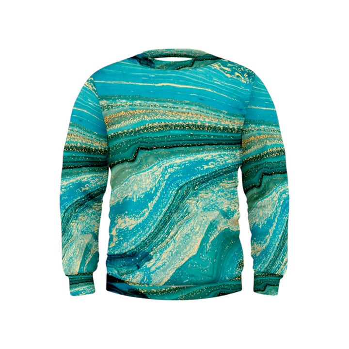 Mint,gold,marble,nature,stone,pattern,modern,chic,elegant,beautiful,trendy Kids  Sweatshirt