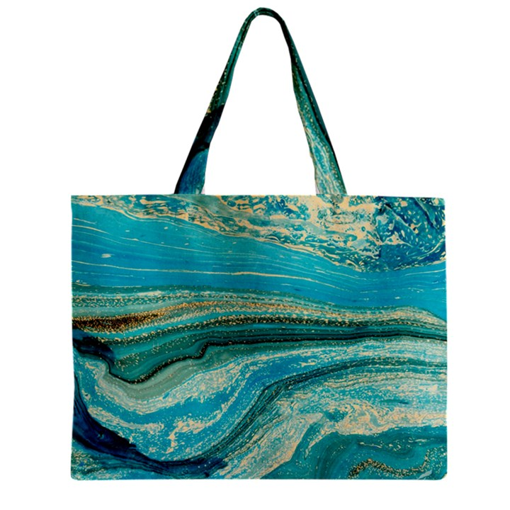 Mint,gold,marble,nature,stone,pattern,modern,chic,elegant,beautiful,trendy Zipper Mini Tote Bag