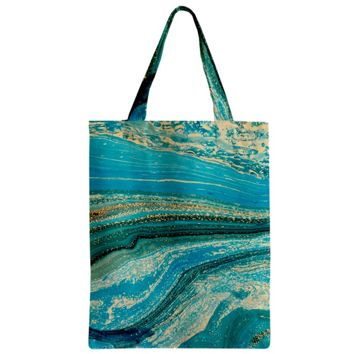 Mint,gold,marble,nature,stone,pattern,modern,chic,elegant,beautiful,trendy Zipper Classic Tote Bag