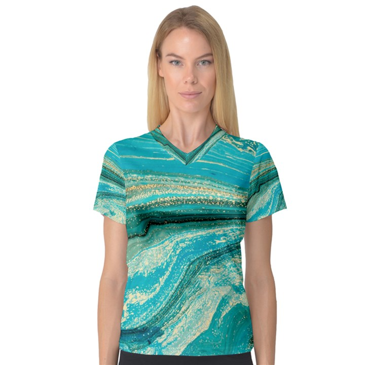 Mint,gold,marble,nature,stone,pattern,modern,chic,elegant,beautiful,trendy V-Neck Sport Mesh Tee