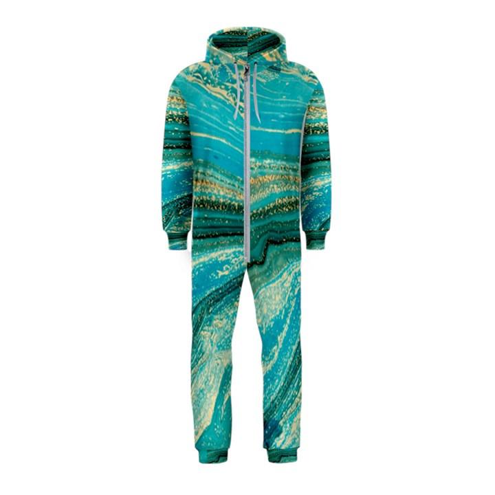 Mint,gold,marble,nature,stone,pattern,modern,chic,elegant,beautiful,trendy Hooded Jumpsuit (Kids)