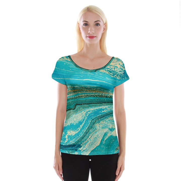 Mint,gold,marble,nature,stone,pattern,modern,chic,elegant,beautiful,trendy Cap Sleeve Tops