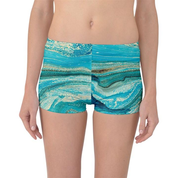 Mint,gold,marble,nature,stone,pattern,modern,chic,elegant,beautiful,trendy Boyleg Bikini Bottoms