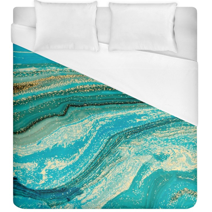 Mint,gold,marble,nature,stone,pattern,modern,chic,elegant,beautiful,trendy Duvet Cover (King Size)