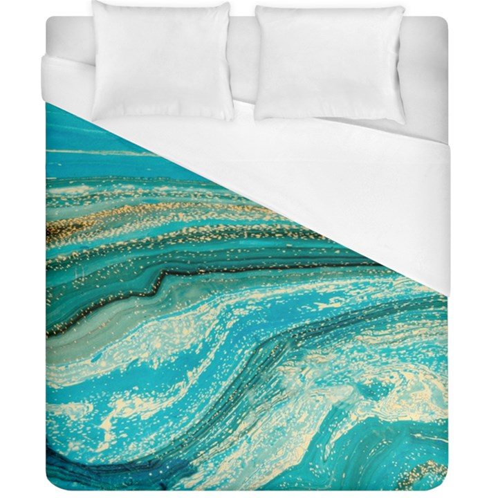 Mint,gold,marble,nature,stone,pattern,modern,chic,elegant,beautiful,trendy Duvet Cover (California King Size)