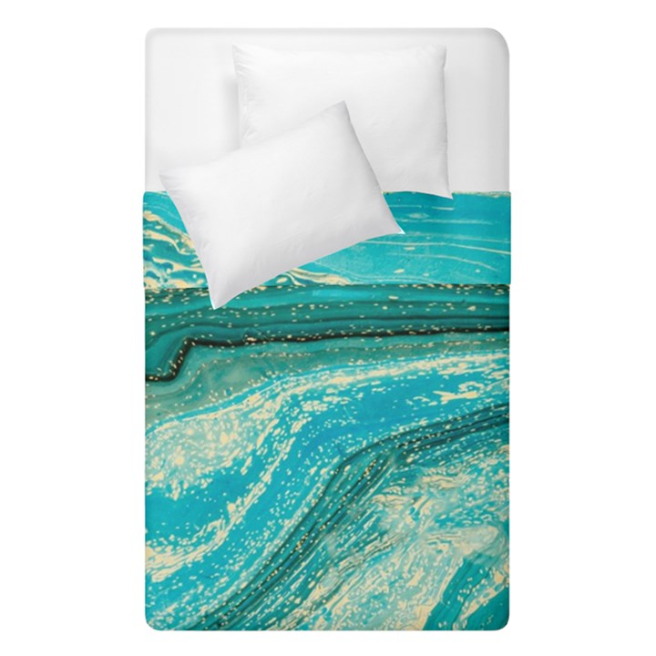 Mint,gold,marble,nature,stone,pattern,modern,chic,elegant,beautiful,trendy Duvet Cover Double Side (Single Size)