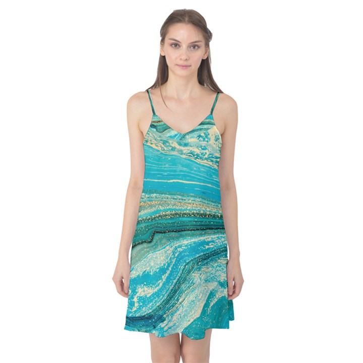 Mint,gold,marble,nature,stone,pattern,modern,chic,elegant,beautiful,trendy Camis Nightgown