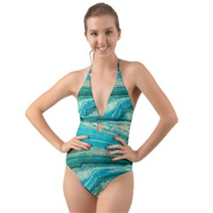 Mint,gold,marble,nature,stone,pattern,modern,chic,elegant,beautiful,trendy Halter Cut Out One Piece Swimsuit