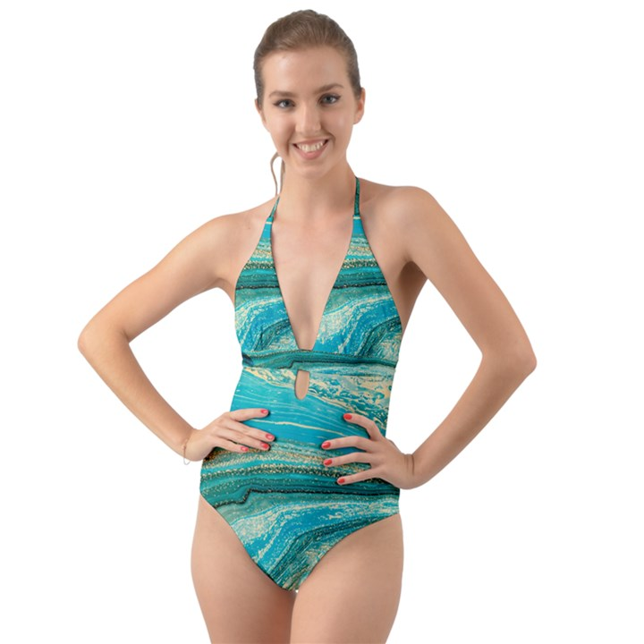 Mint,gold,marble,nature,stone,pattern,modern,chic,elegant,beautiful,trendy Halter Cut-Out One Piece Swimsuit