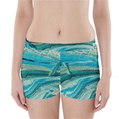 Mint,gold,marble,nature,stone,pattern,modern,chic,elegant,beautiful,trendy Boyleg Bikini Wrap Bottoms