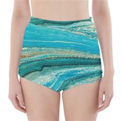 Mint,gold,marble,nature,stone,pattern,modern,chic,elegant,beautiful,trendy High Waisted Bikini Bottoms