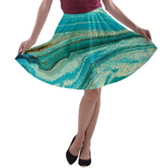 Mint,gold,marble,nature,stone,pattern,modern,chic,elegant,beautiful,trendy A Line Skater Skirt