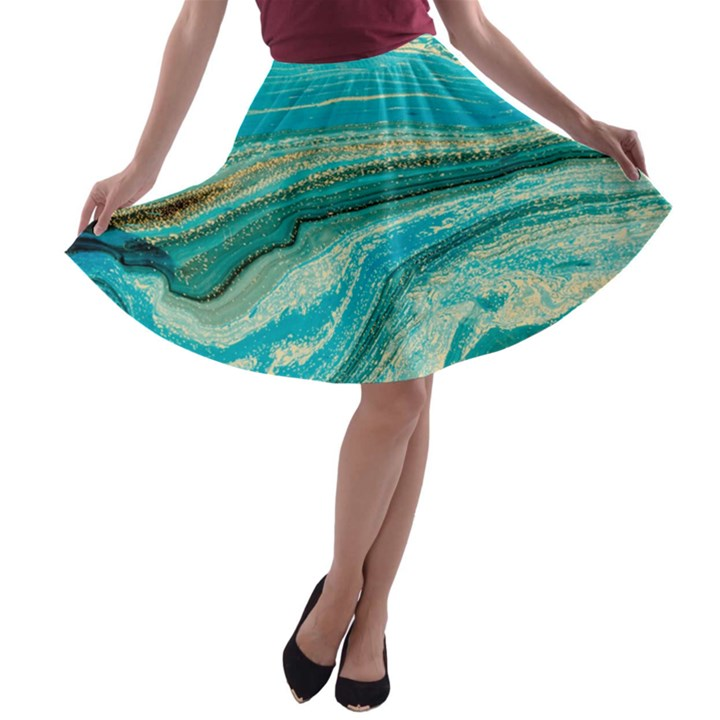 Mint,gold,marble,nature,stone,pattern,modern,chic,elegant,beautiful,trendy A-line Skater Skirt