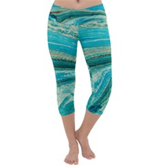 Mint,gold,marble,nature,stone,pattern,modern,chic,elegant,beautiful,trendy Capri Yoga Leggings