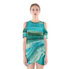 Mint,gold,marble,nature,stone,pattern,modern,chic,elegant,beautiful,trendy Shoulder Cutout One Piece