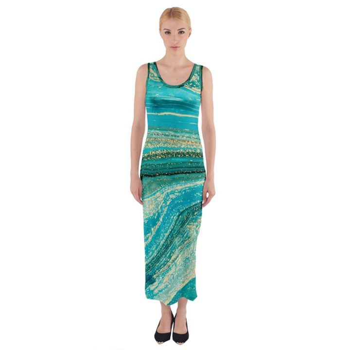 Mint,gold,marble,nature,stone,pattern,modern,chic,elegant,beautiful,trendy Fitted Maxi Dress