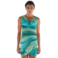 Mint,gold,marble,nature,stone,pattern,modern,chic,elegant,beautiful,trendy Wrap Front Bodycon Dress