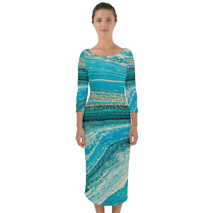 Mint,gold,marble,nature,stone,pattern,modern,chic,elegant,beautiful,trendy Quarter Sleeve Midi Bodycon Dress