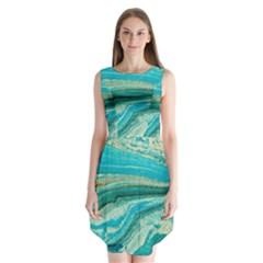 Mint,gold,marble,nature,stone,pattern,modern,chic,elegant,beautiful,trendy Sleeveless Chiffon Dress