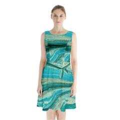 Mint,gold,marble,nature,stone,pattern,modern,chic,elegant,beautiful,trendy Sleeveless Waist Tie Chiffon Dress