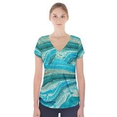 Mint,gold,marble,nature,stone,pattern,modern,chic,elegant,beautiful,trendy Short Sleeve Front Detail Top