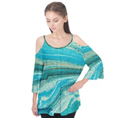 Mint,gold,marble,nature,stone,pattern,modern,chic,elegant,beautiful,trendy Flutter Tees